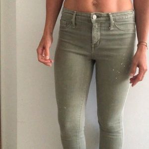 Mossimo jeggings - army green with paint!